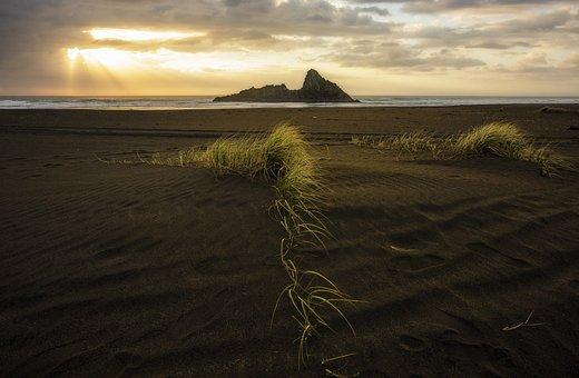 Beach, Sunset, Landscape, Island, New Zealand, Sky