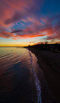 Sunset, Landscape, Sky, Horizon, Clouds, Light, Sea