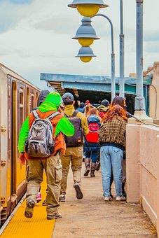 People, Train, Commuters, Platform, Subway