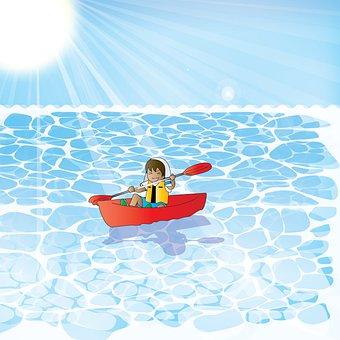 Sea, Canoe, Boy, Rowing, Sun, Sunlight, Sun Rays