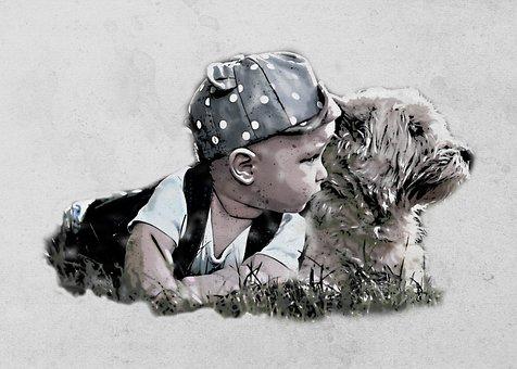 Boy, Baby, Dog, Field, Child, Kid, Toddler, Childhood