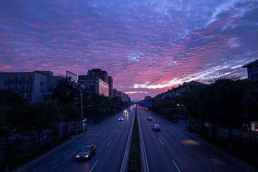 Beijing, City Sunset, Traffic