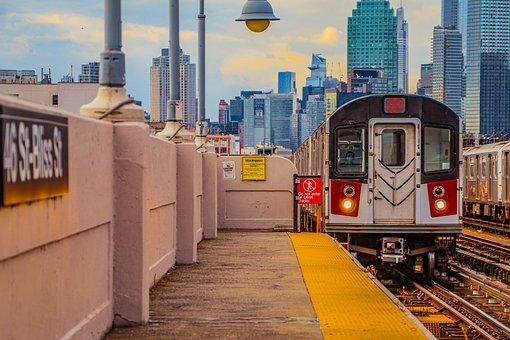 Train, Platform, Buildings, Train Station, Railway