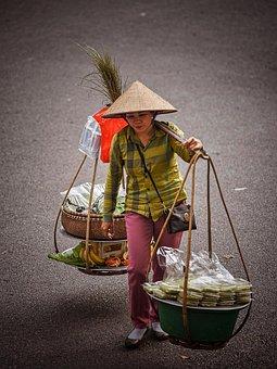 Woman, Vendor, Vietnamese, Street, Pavement