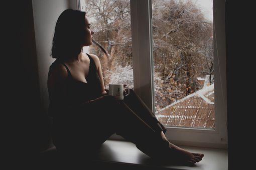 Girl, Window, Sit, Sitting, Wait, Waiting
