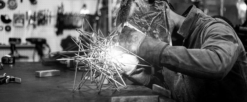 Man, Metal, Welding, Steel, Spark, Welder, Workshop