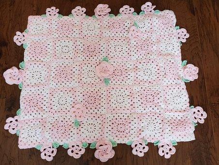 Pink, White, Yarn, Crochet, Rose, Green, Leaves, Leaf