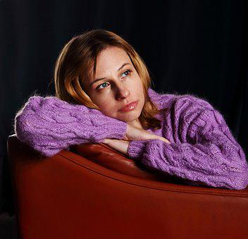 Woman, Sweater, Armchair, Girl, Person, Purple Sweater