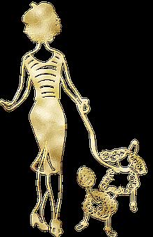 Woman, Poodle, Gold Foil, Dog, Puppy, Animal, Pet, Girl