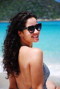 Blue, Sea, Girl, Cabelo, Vacation, Woman, Ocean, Bikini