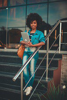 Girl, Student, Campus, University, Afro, Laptop
