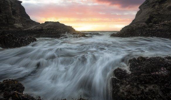 Beach, Sunset, Waves, Crashing Waves, Ocean Waves