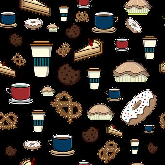 Beverage, Donut, Food, Mugs, Snacks Pattern