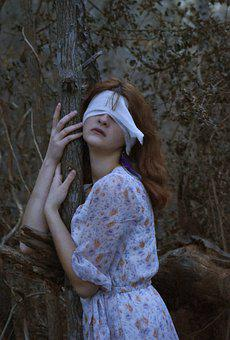Blind Girl, Girl, Woman, Blindfolded, Model, Woods
