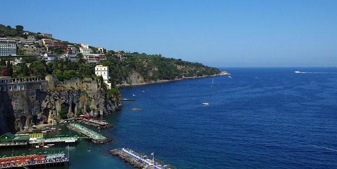 Sorrento, Mediterranée, Italy, Panorama, Sea, Blue