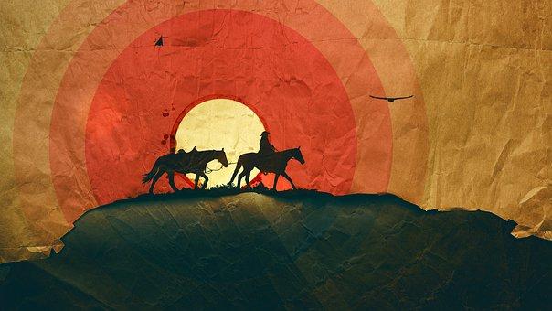 Western, Cowboy, Paper, Wild, West, Poster, Brown