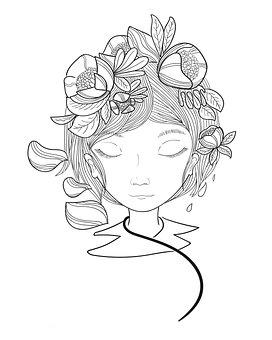 Woman, Flowers, Headdress, Floral, Girl, Female, Bust