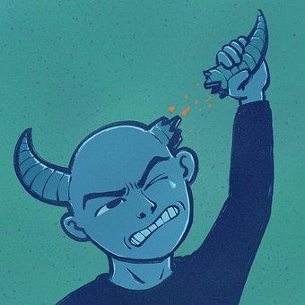 Man, Bull, Horns, Cow, Ox, Surreal, Cartoon, Painting
