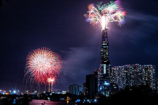 Cityscape, Night, Fireworks, 2021, City, Skyline, Year
