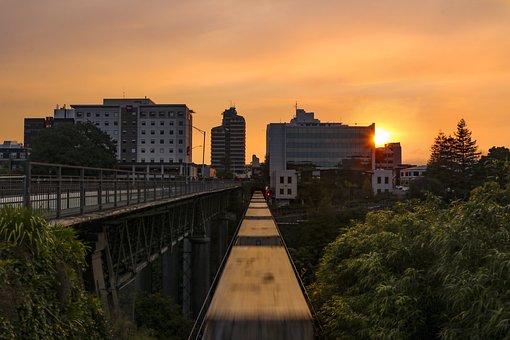Sunset, Train, Sky, City, Moving Train, Buildings, Dusk