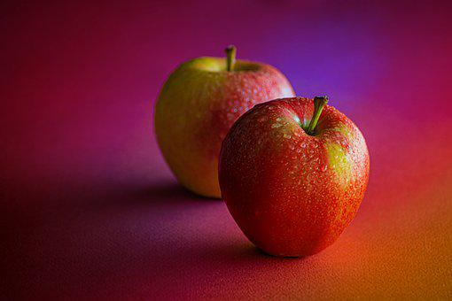 Apples, Dewdrops, Pair, Fruits, Fresh, Ripe, Red Apples