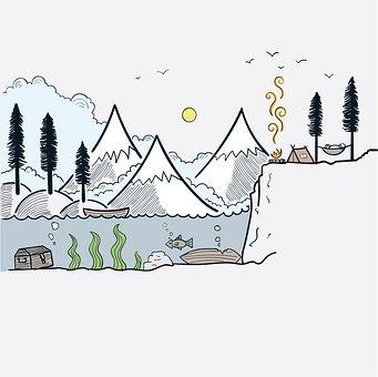 Mountains, Camp, Doodle, Nature