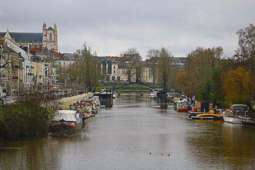 Nantes, Erdre, Town, River, Gateway, Water, Boats