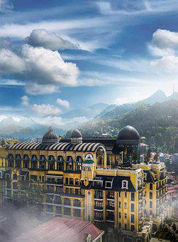 Buildings, Sky, Clouds, Mountains, Architecture, Facade