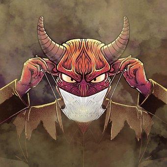 Man, Demon, Mask, Face Mask, Horns, Surreal, Cartoon
