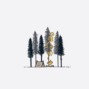 Tent, Camp, Trees, Forest, Woods, Woodlands, Campfire
