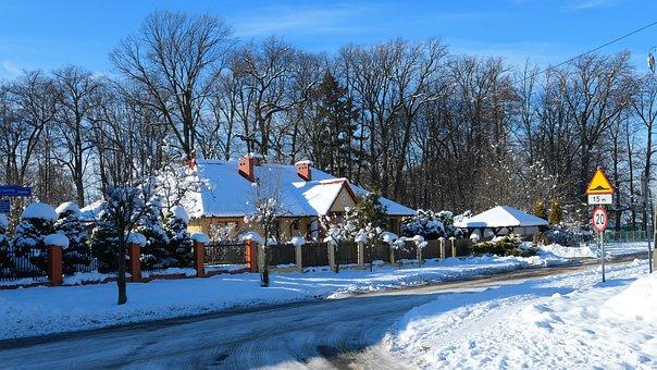 Cottage, Winter, Snow, Street, Cold, Landscape, Frost