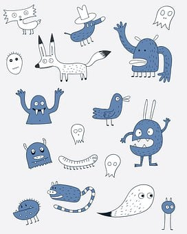 Monsters, Doodles, Cartoon, Funny