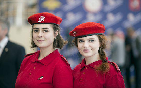 Girls, Pair, Uniforms, Youth, Red Uniforms, Smile