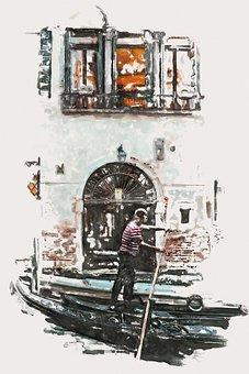 Canal, Boat, Gondola, Man, Gondolier, Paint, Painting
