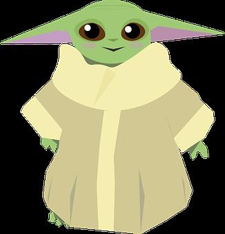 Baby Yoda, Mandolorian, Grogu, Funny, Alien, Brown Eyes
