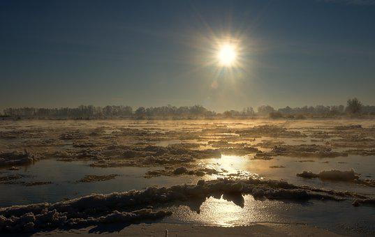 River, Ice Floes, Sunrise, Cold, Ice, Frost, Haze