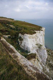 Cliffs, Sea, Ocean, Horizon, Sky, Clouds, Grass, Coast