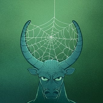 Bull, Horns, Spider Web, Cobweb, Web, Cow, Ox, Surreal