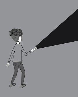 Man, Flashlight, Doodle, Light, Dark, Lamp, Bright