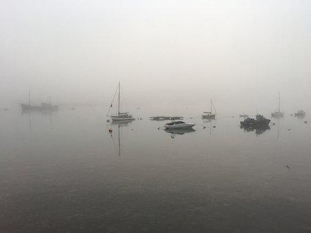 Boats, Fog, Fantasy, Foggy, Mood, Sailboat, Village