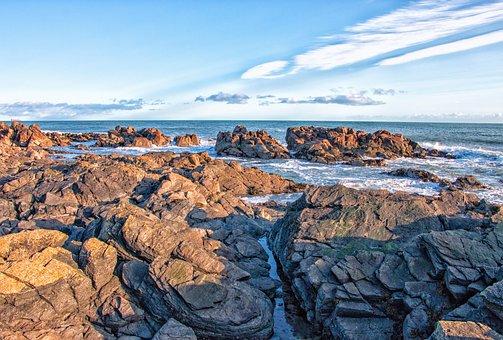 Beach, Cliffs, Sea, Waves, Water, Nature