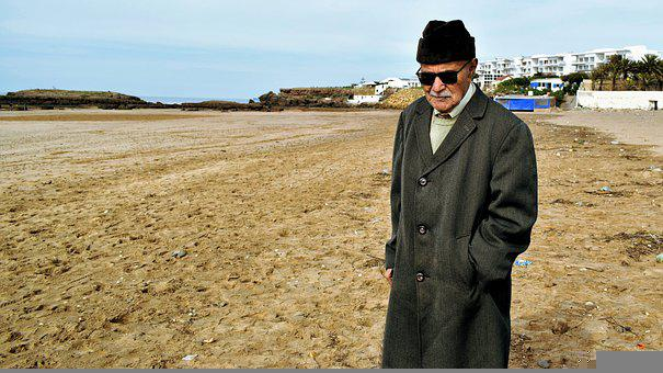 Grandfather, Old Man, Beach, Ocean, People, Marine