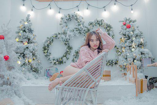 Girl, Asian, Chair, Sit, Sitting, Christmas