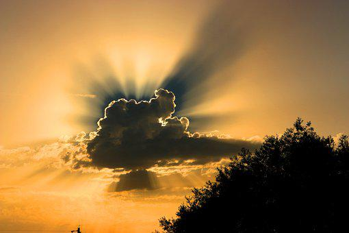 Clouds, Sky, Sunset, Silhouettes, Backlighting, Dusk