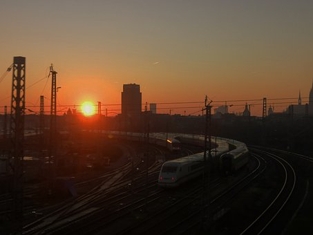 Cologne, Train, Sunset, Sun, Fire In The Sky