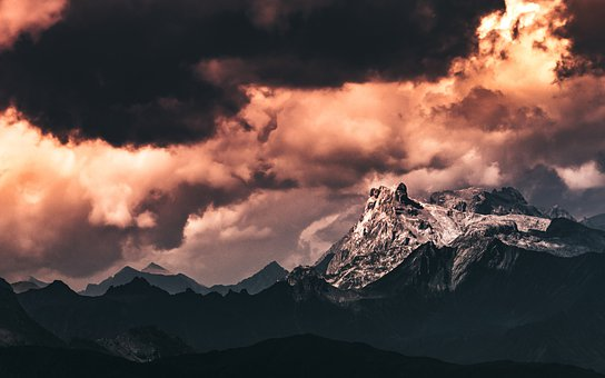 Mountain, Landscape, Sky, Mountains, Sunset, Nature