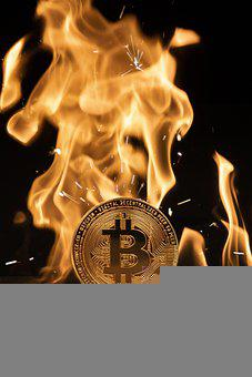 Bitcoin, Coin, Flame, Icon, Symbol, Logo