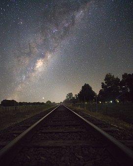 Night Sky, Milky Way, Train Tracks, Railway, Railroad