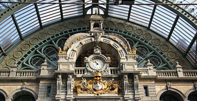 Architecture, Concourse, Clock, Railway Station