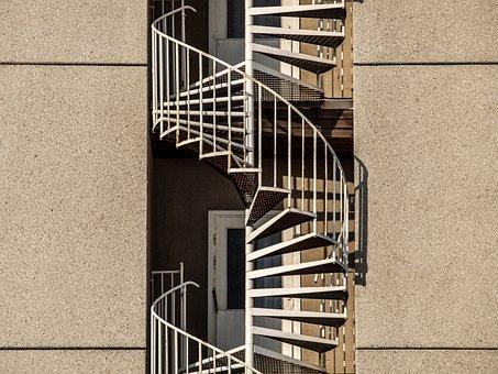 Architecture, Skyscraper, Old, Trist, Spiral Staircase